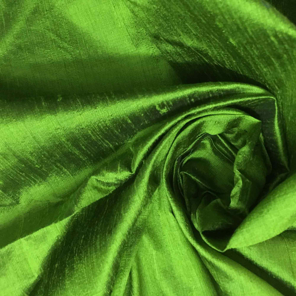 Greenery Raw Silk Fabric
