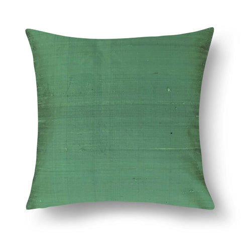 Dark Mint Solid Color Raw Silk Pillow Cover