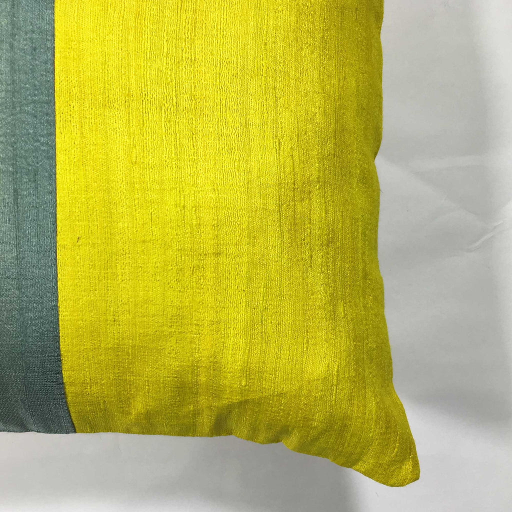 Indian Silk Pillow cover Grey and Mustard raw silk