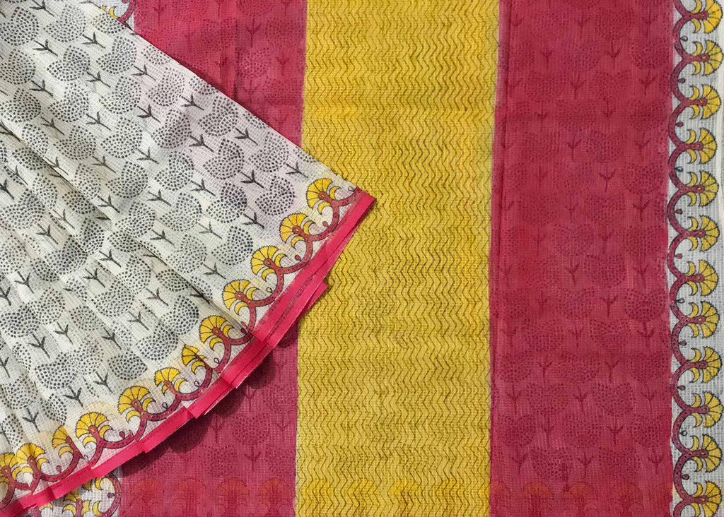 Hand Block Printed Unique Cotton Saree By DesiCrafts