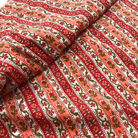 Hand block printed gauzy fabric by yard