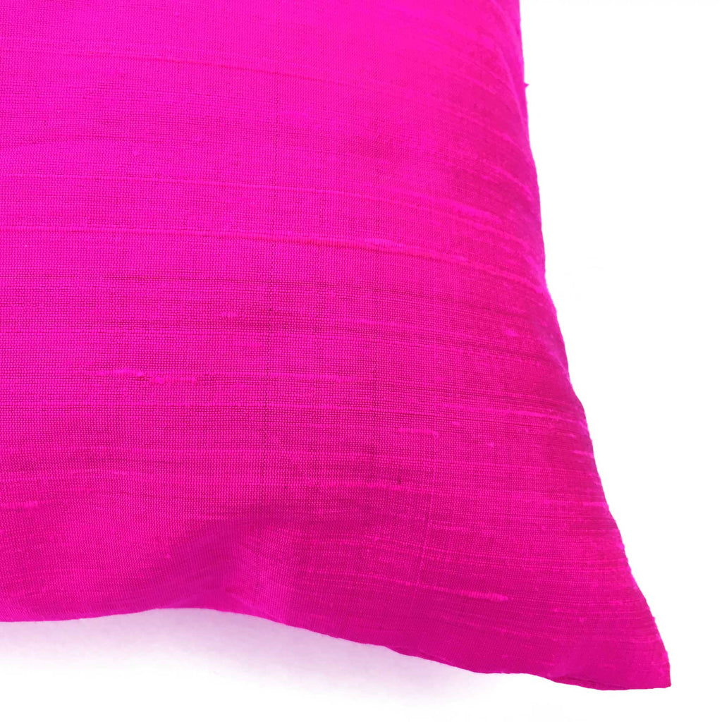 Hot Pink Raw Silk Pillow Cover