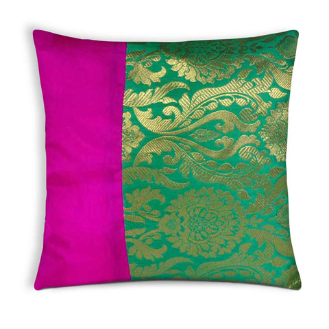 Hot pink sea green silk pillow cover buy online from DesiCrafts