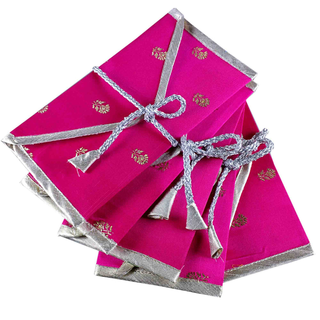 Set of 5 Hot Pink and Silver Silk Fabric Gift Envelopes