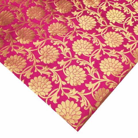 Hot pink and gold banarasi silk fabric buy online