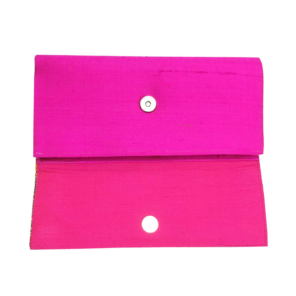 Silk Clutch Purse Hot Pink and Mustard
