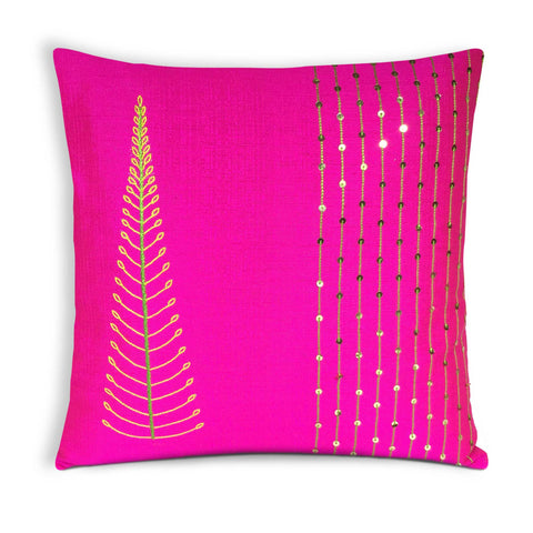 Tree Embroidery Hot Pink Silk Cushion Cover