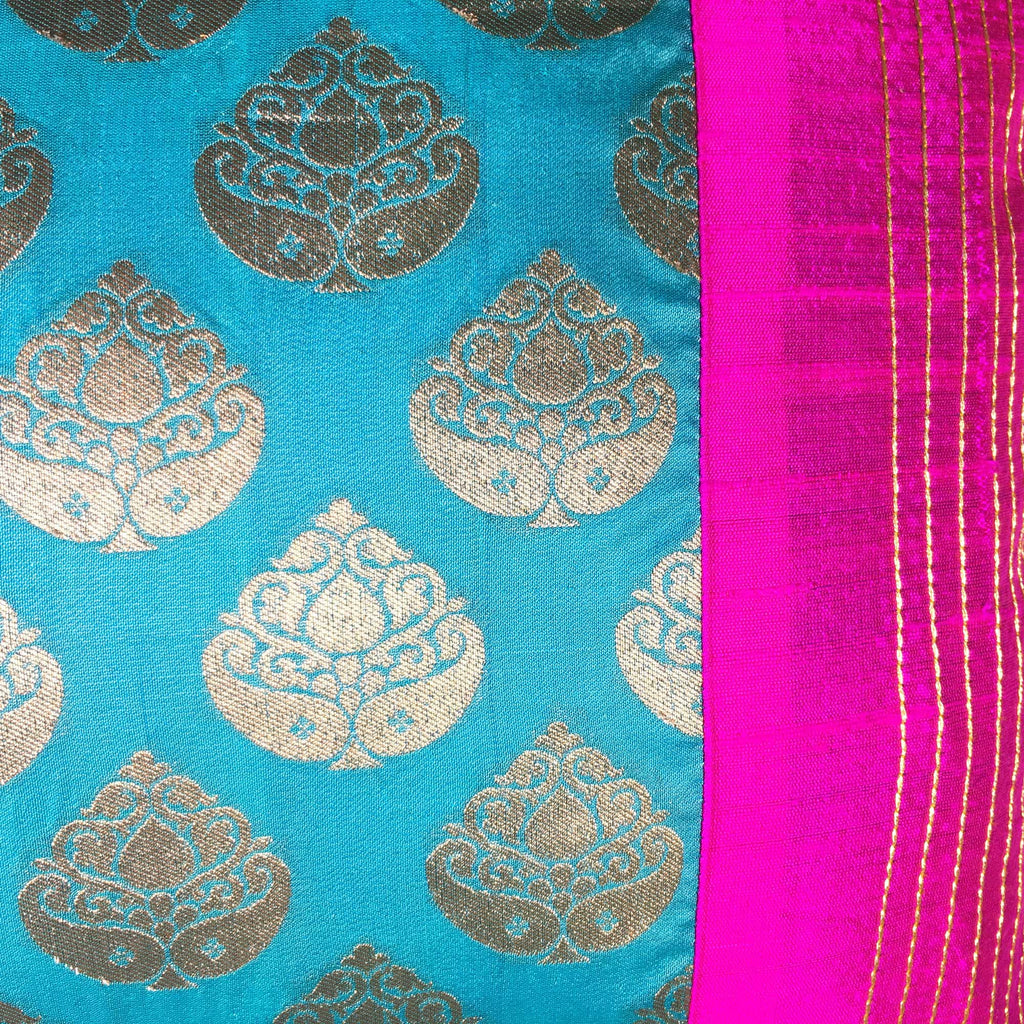 Teal and Hot Pink Raw Silk Lumbar Cushion Cover
