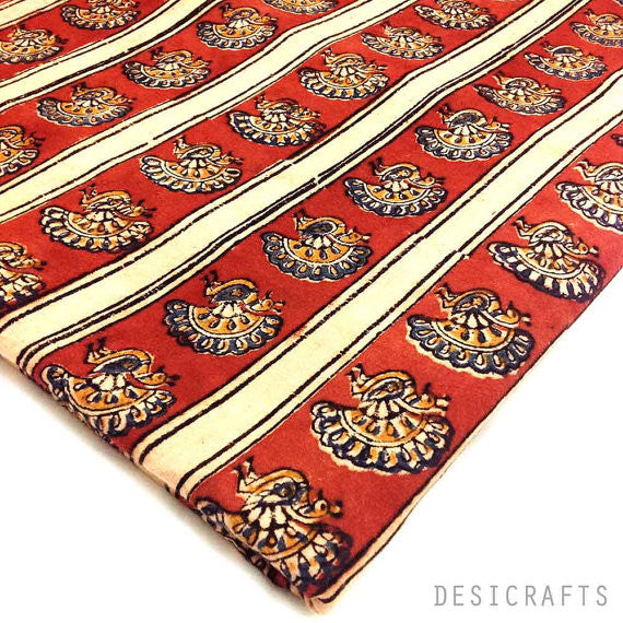 Striped Kalamkari Fabric Red Mustard Mayura