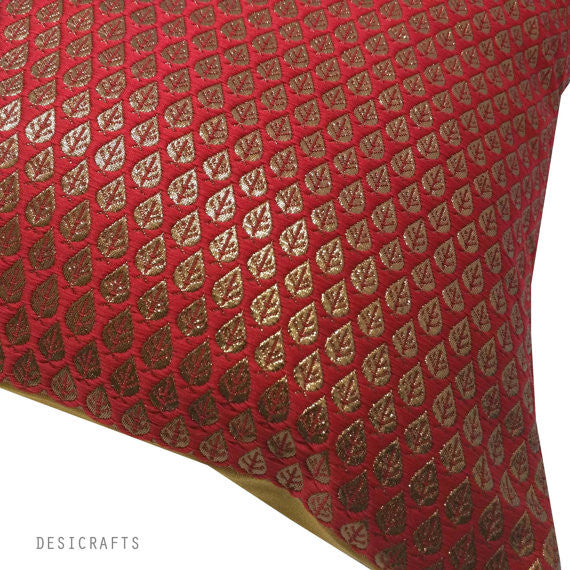 red and gold silk cushion cover