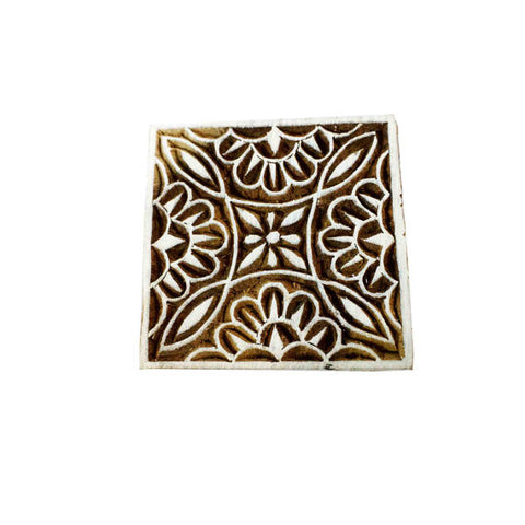 Square Floral Wooden Stamp for Printing