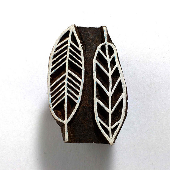 Twin Leaves Wooden Block Printing Stamp
