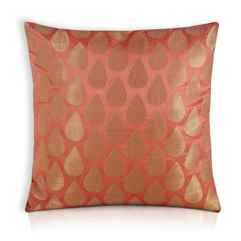 Peach and Gold Chanderi Silk Pillow Cover
