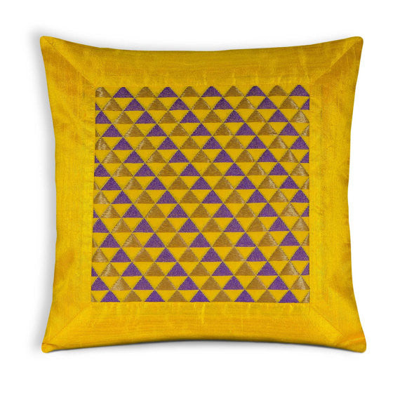 Yellow and Purple Triangles Raw Silk Pillow Cover