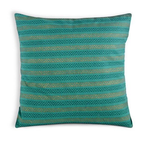 Sea Green and Gold Cotton Cushion Cover