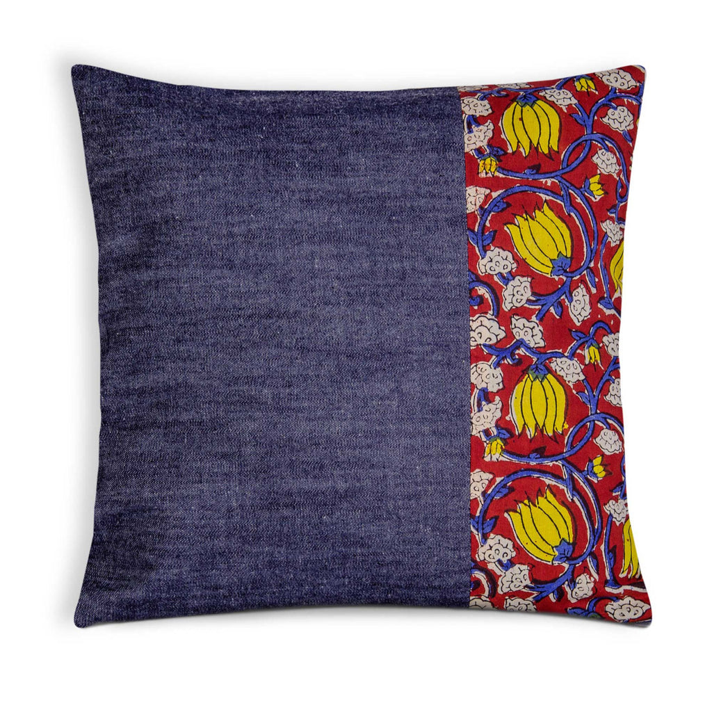 Denim Kalamkari Outdoor Pillow Cover