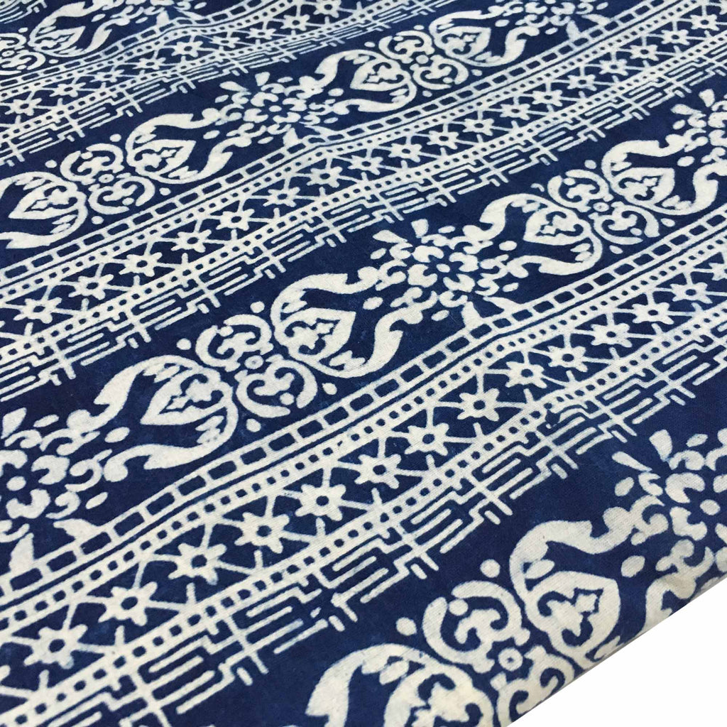 Indigo stripes natural cotton fabric buy online