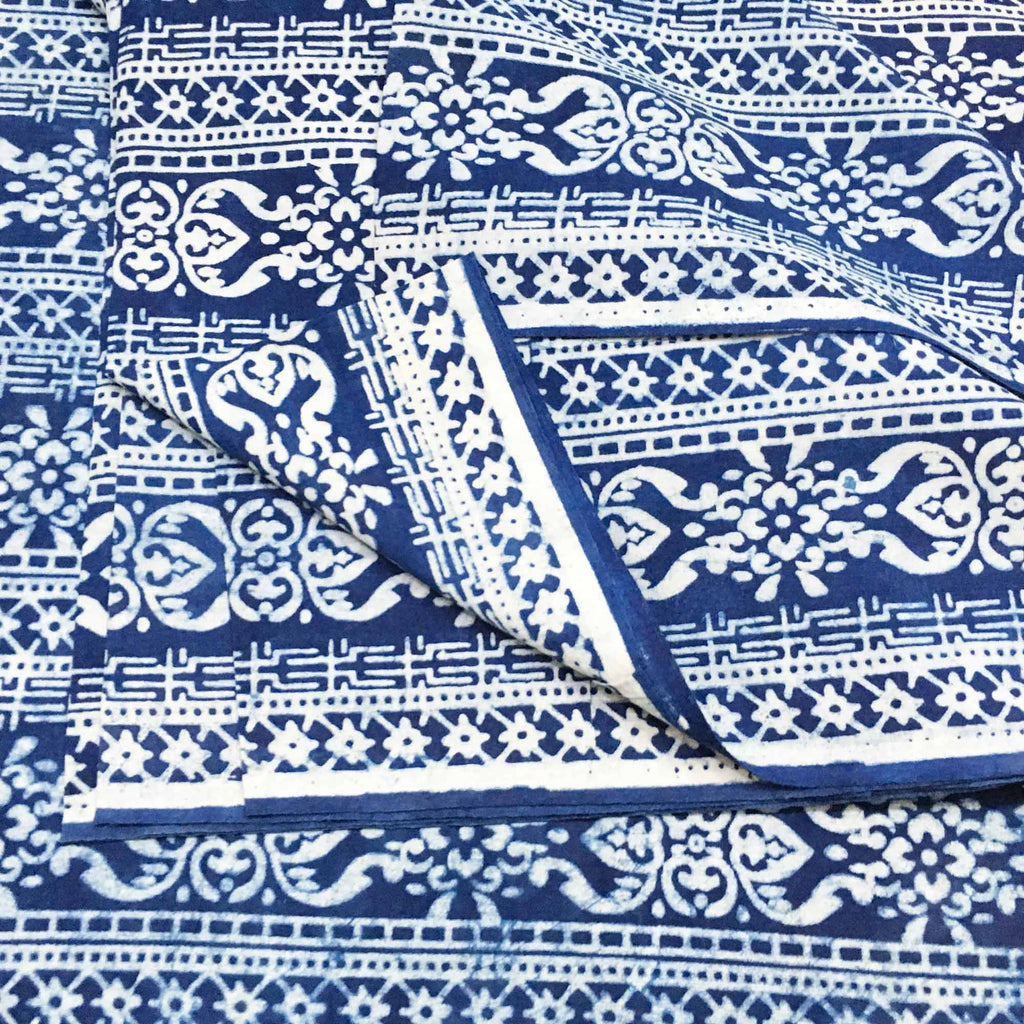 Block printed cotton fabric by meter