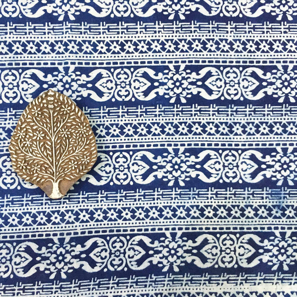 DesiCrafts hand block printed fabric in Indigo and White