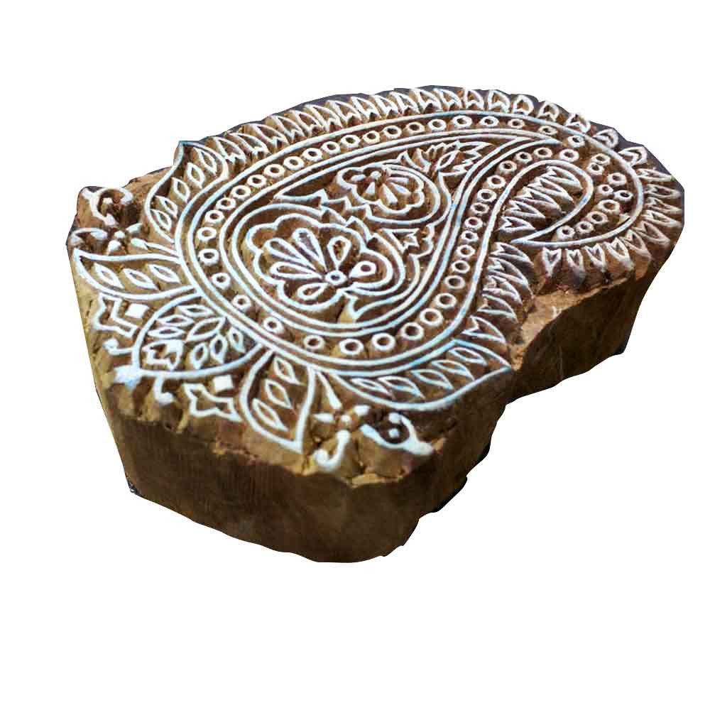 Intricate carving paisley wooden block buy  from DesiCrafts