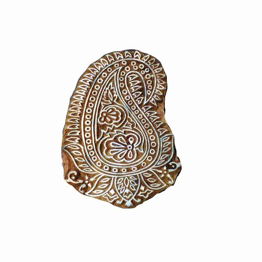 Intricate carving paisley wooden block buy online from India