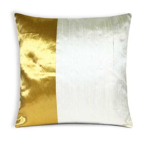Off White and Gold Kerala Style Raw Silk Cushion Cover