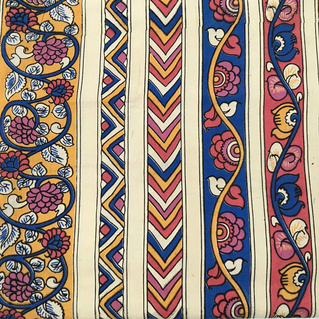 Pink and Mustard Kalamkari Border Fabric