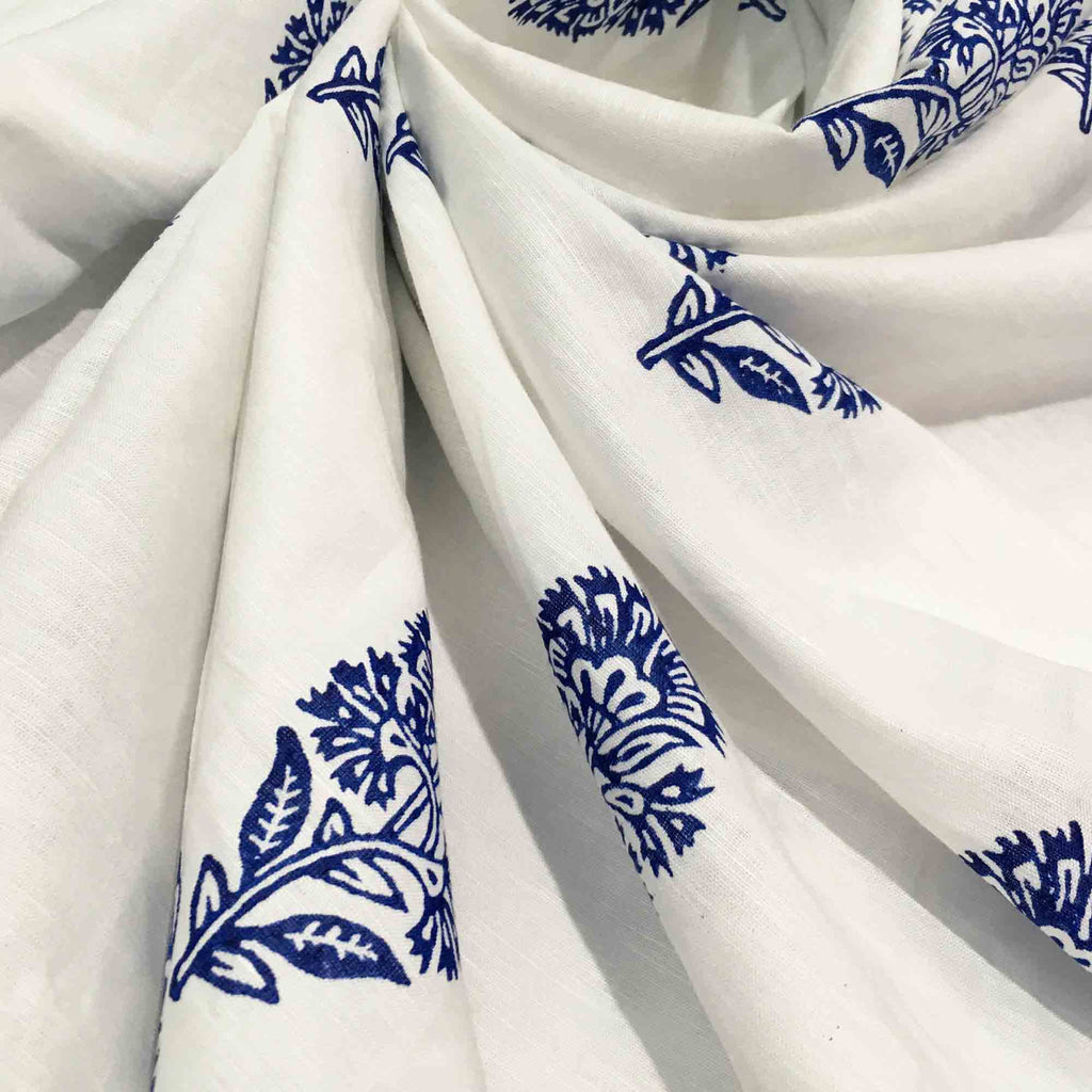 Hand Block Printed Linen Fabric Buy Online