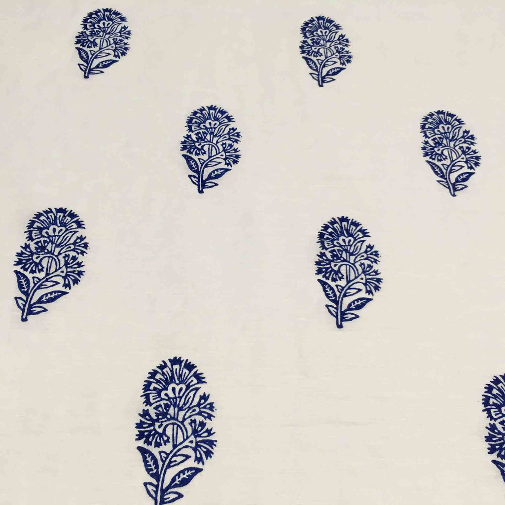 DesiCrafts Kashmir Flower Hand Block Printed Linen Fabric
