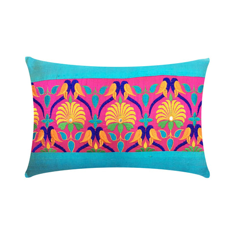Teal Kutch Embroidery Dupioni Silk Throw Pillow Cover
