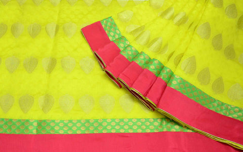 Yellow Pink Handmade Chanderi Silk Sari