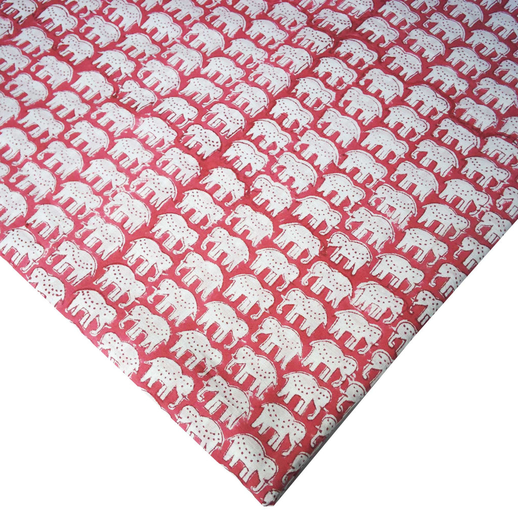Cute Elephants Soft Cambric Cotton Fabric Buy Online from DesiCrafts