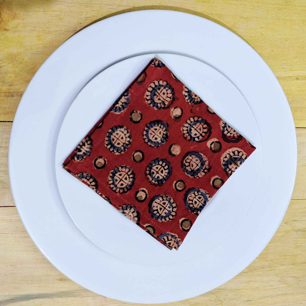 Cotton Cocktail Napkins, Zero Waste Napkins in Madder and Blue