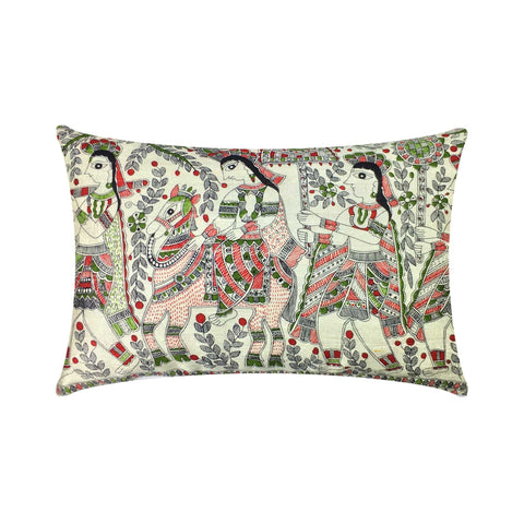 Mithila art ahimsa silk cushion cover buy online from India