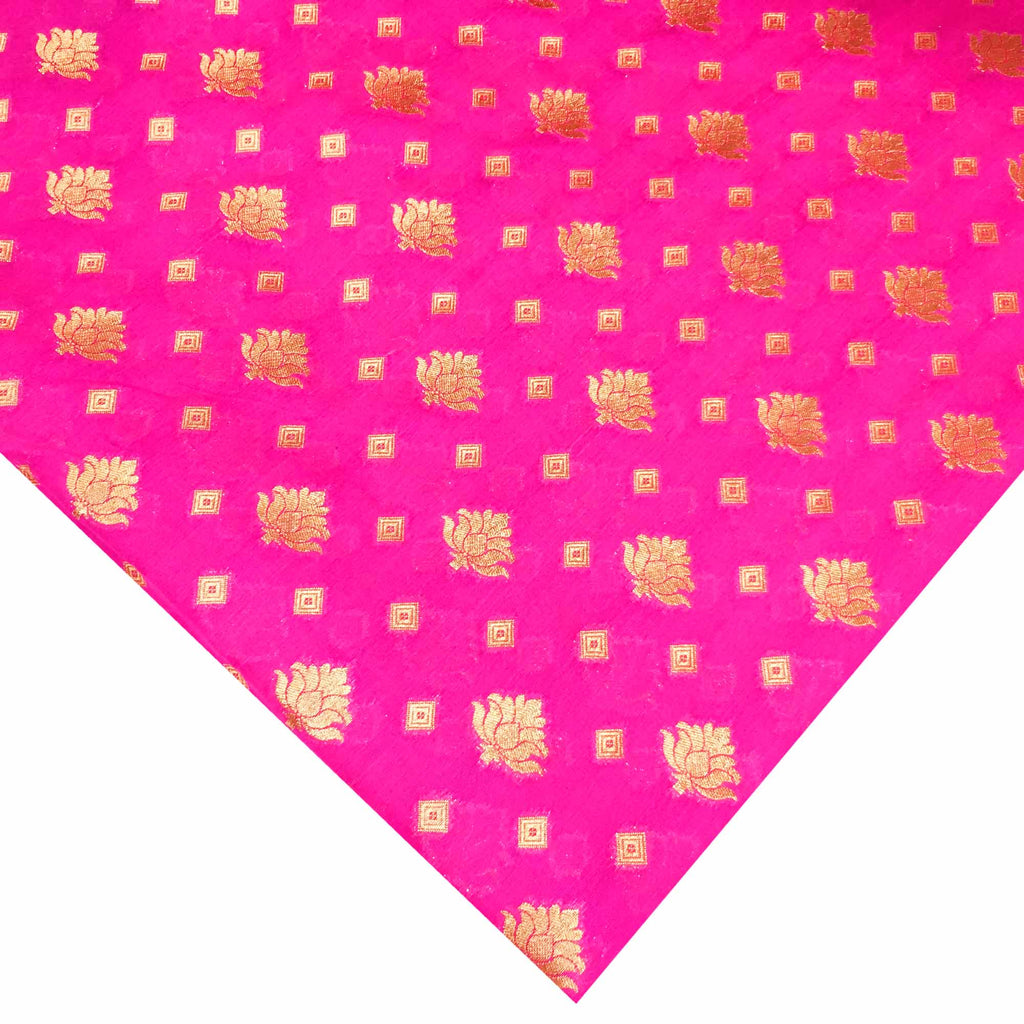 Pink and gold banarasi border silk fabric