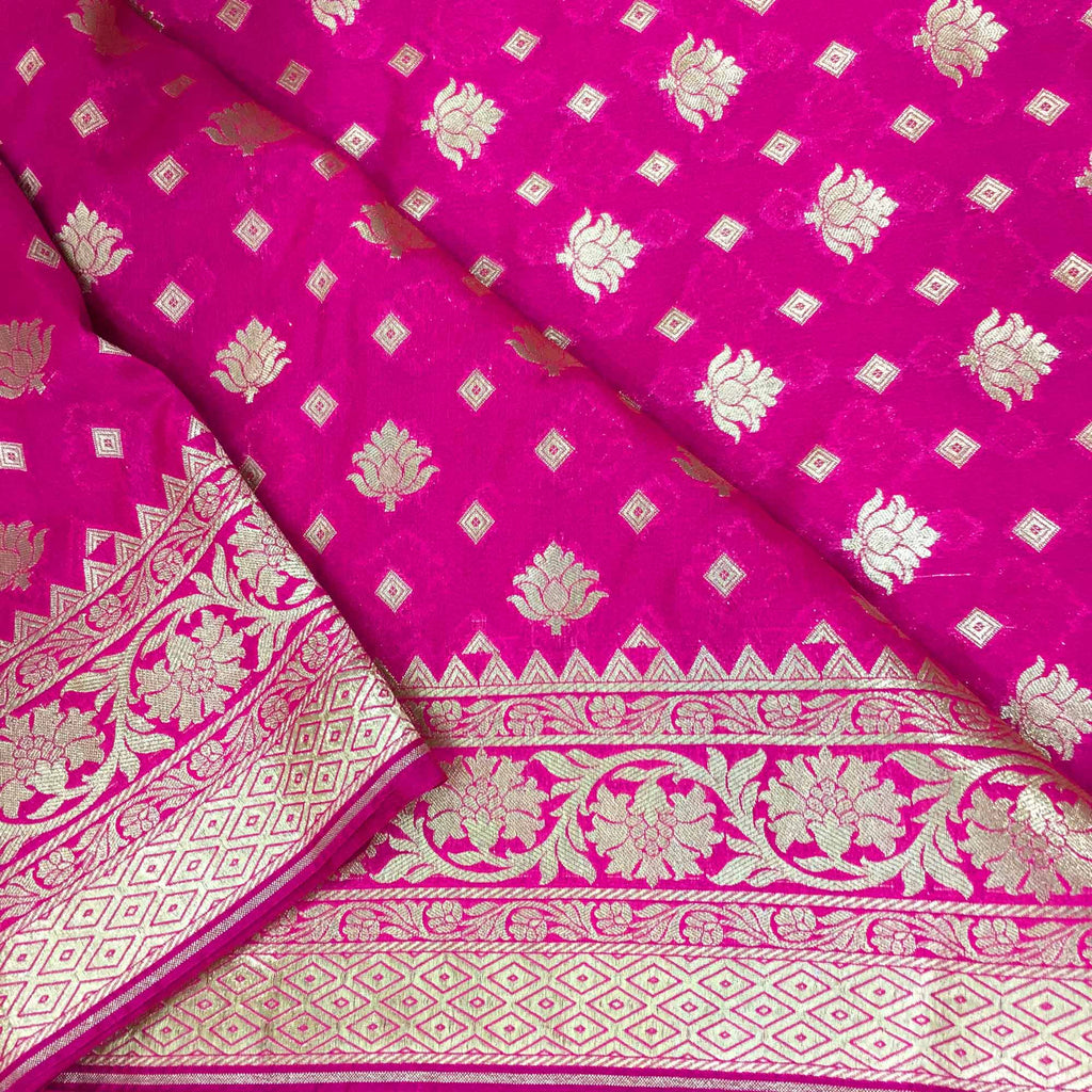 Banarasi brocade hot pink and gold silk fabric buy online
