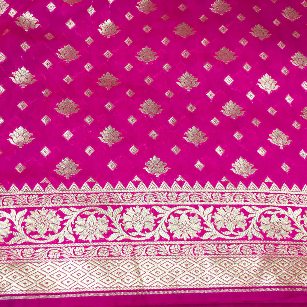 Hot pink and gold silk fabric buy online from DesiCrafts