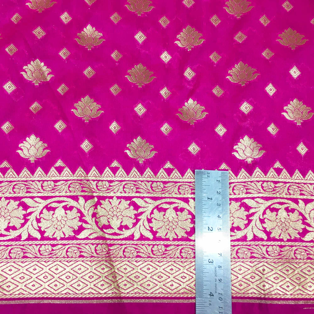 Hot Pink and Gold Banarasi Border Silk Fabric