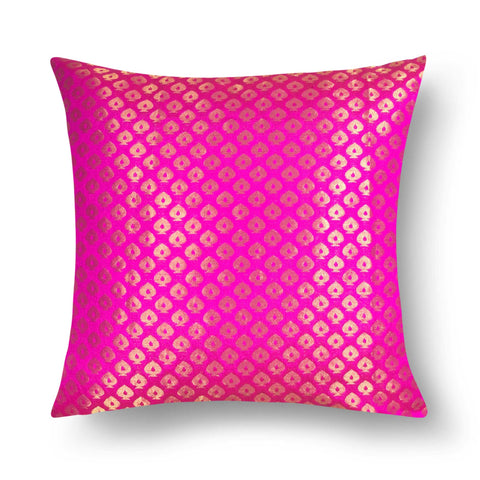 Magenta and Gold Banarasi Silk Decorative Pillow Cover