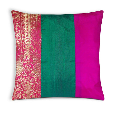 Magenta and Hot Pink Silk Cushion Cover Buy Online From DesiCrafts