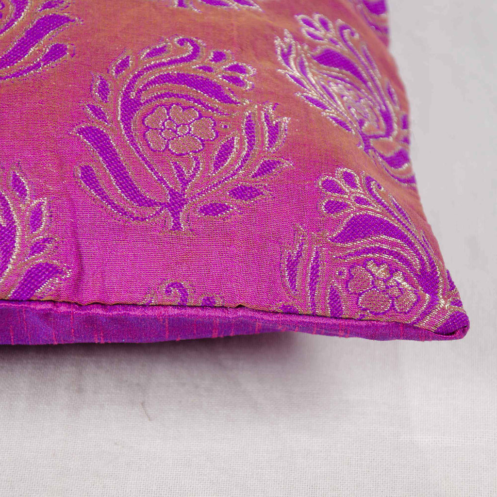 purple and silver silk cushion cover