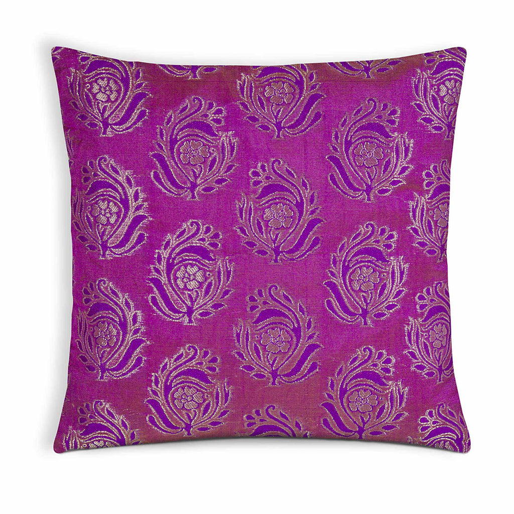 magenta and purple silk pillow cover
