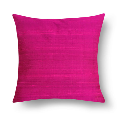 Magenta Solid Color Raw Silk Cushion Cover