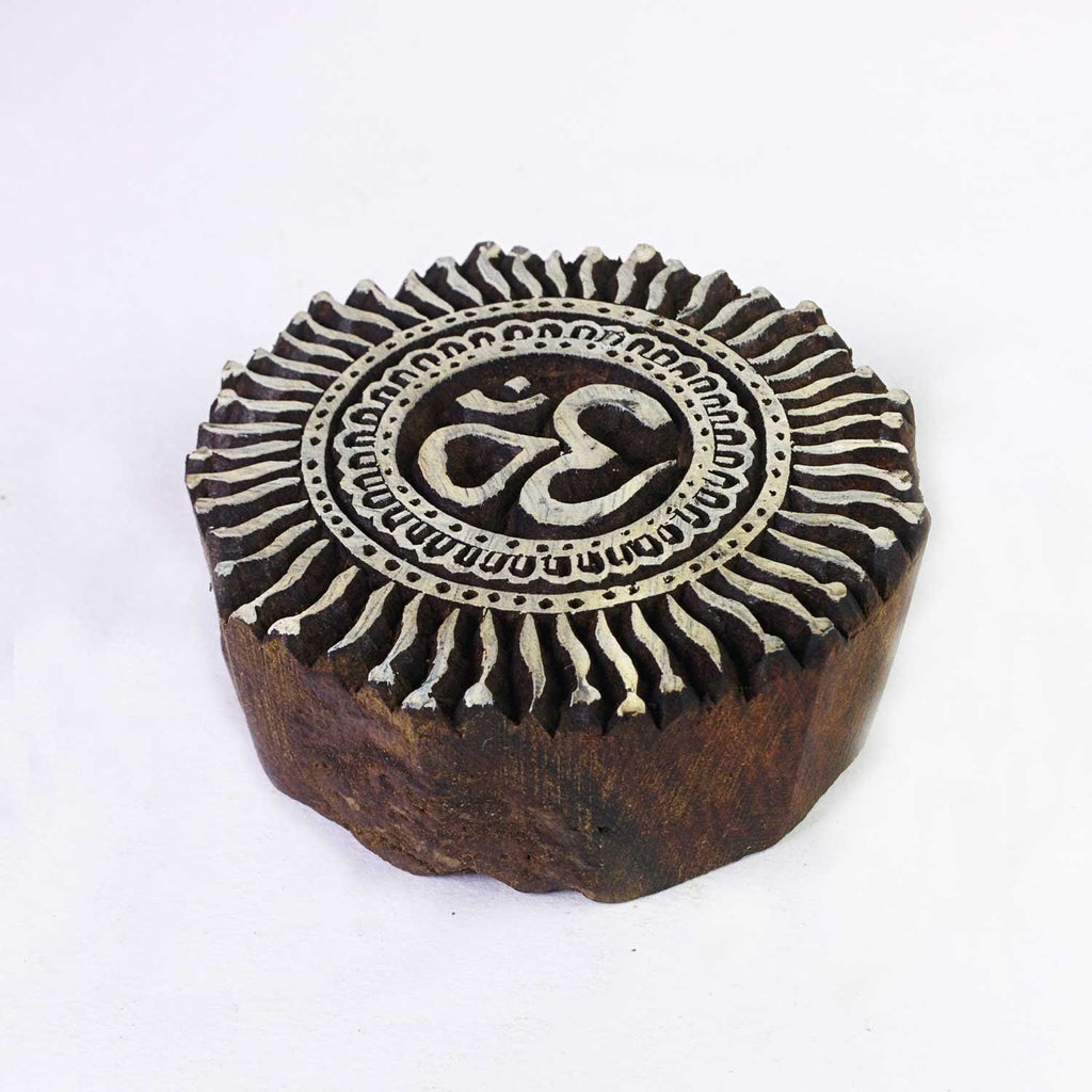 Om Wooden Block for Textile Paper and Clay Printing