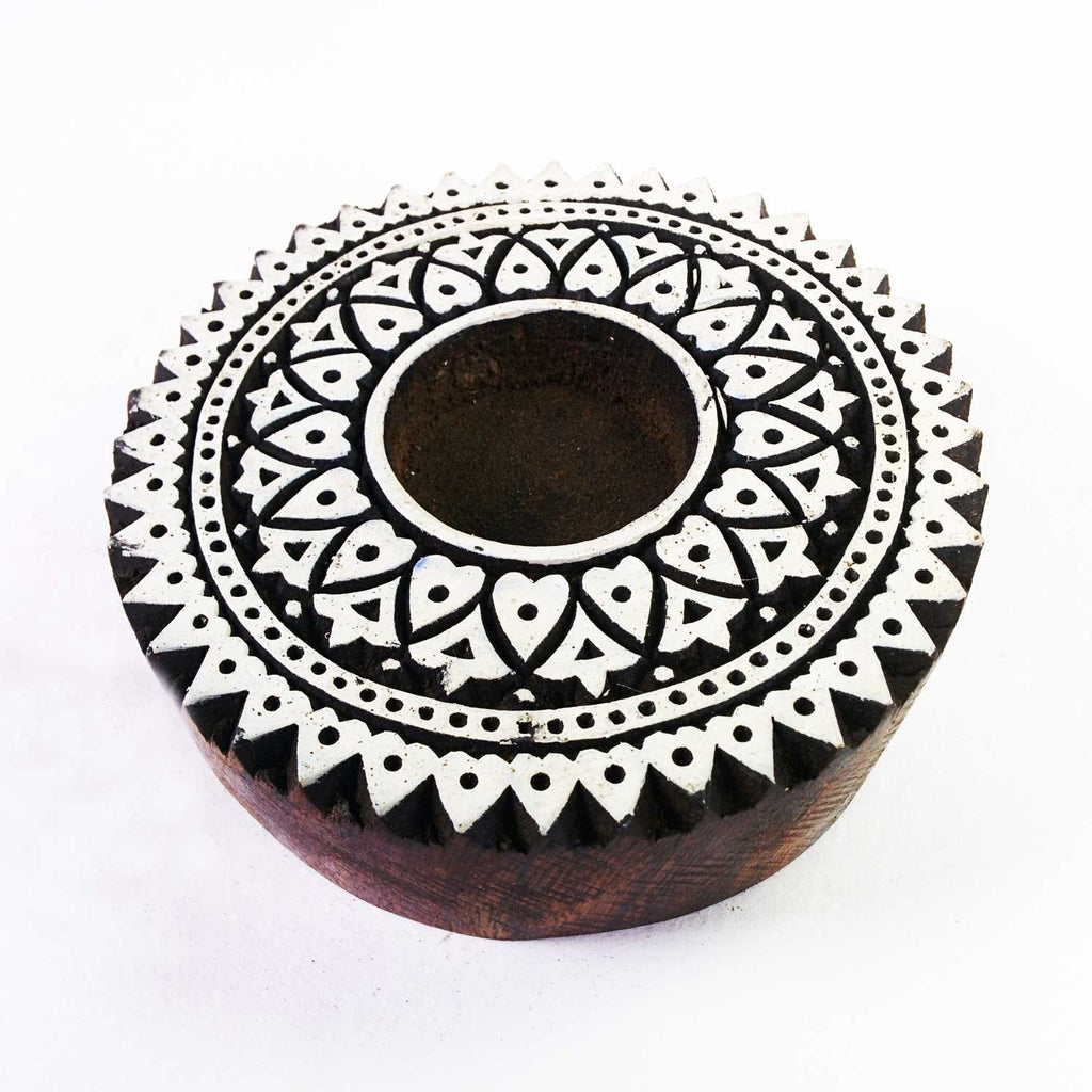 Hand Carved Mandala Tea Light Holder By DesiCrafts