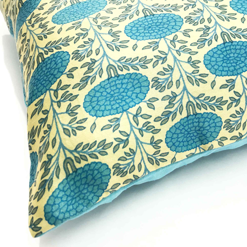 Sky Marigold Lumbar Silk Pillow Cover