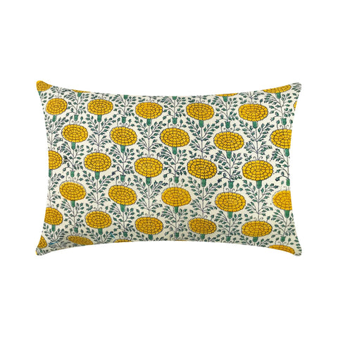 Marigold Yellow Cotton Lumbar Pillow Cover