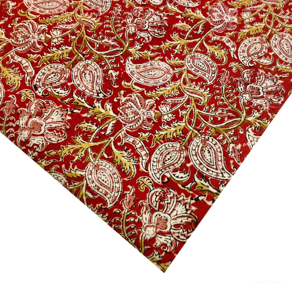 Maroon Mustard and Beige Kalamkari Fabric