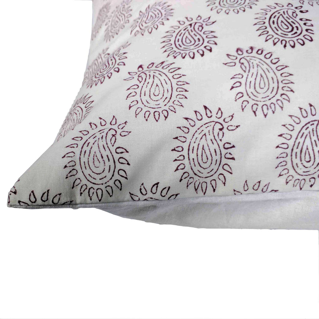 White and Maroon Paisley Cotton Pillow Cover Buy Online From DesiCrafts