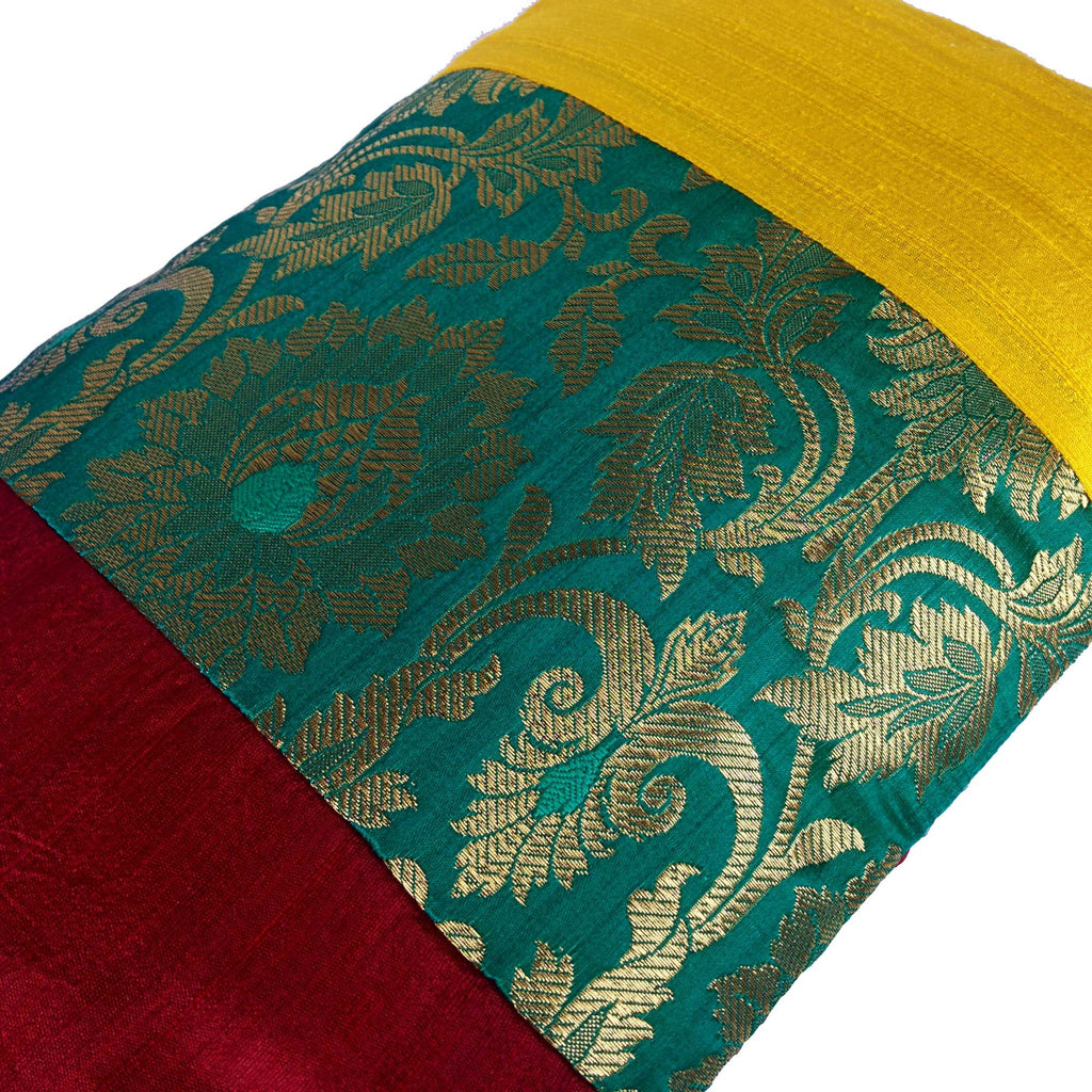 Maroon Teal and Yellow Raw Silk Pillow Cover